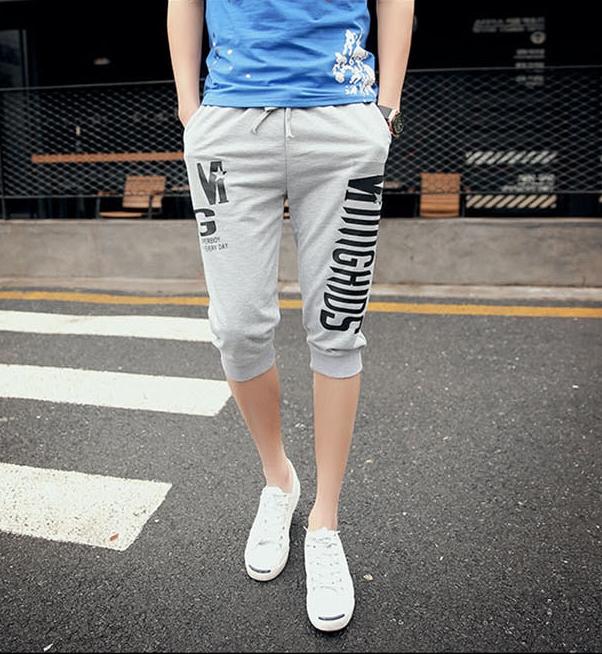 Pre Order กางเกงขาสามส่วนแฟชั่นเกาหลี สกรีนลาย ดีไซน์เท่ห์ มี4สี