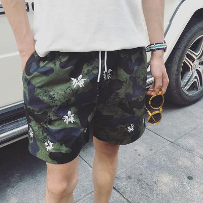 กางเกงขาสั้นเกาหลี ลายพรางทหารสีเขียว สไตล์ชายหาด