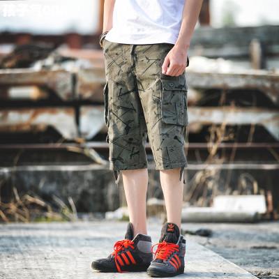 กางเกงขาสั้นเกาหลี พิมพ์ลายทั้งตัว แต่งกระเป๋าใหญ่ด้านข้าง มี4สี