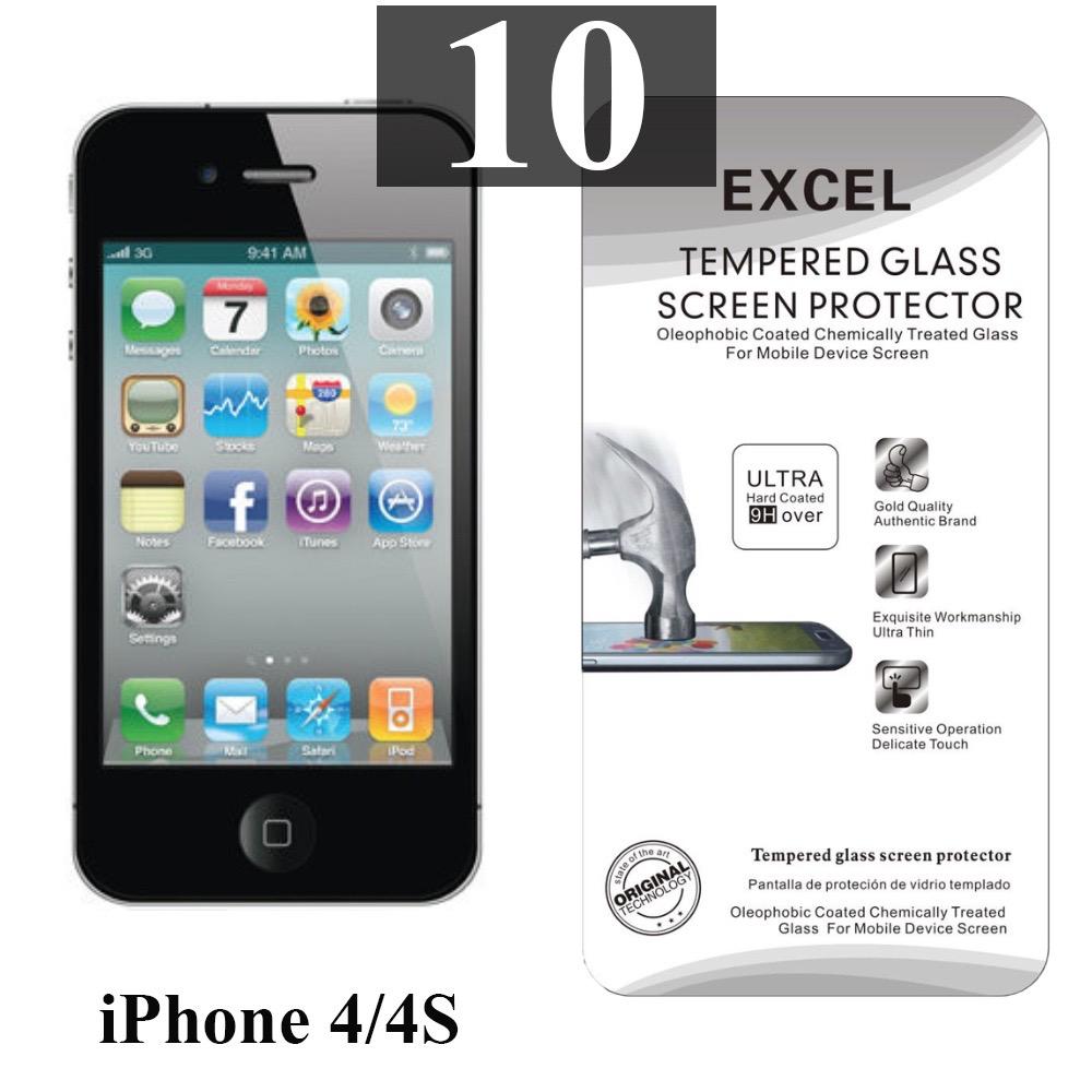 ฟิล์มกระจก iPhone 4/4s Excel แผ่นละ 19 บาท (แพ็ค 10)