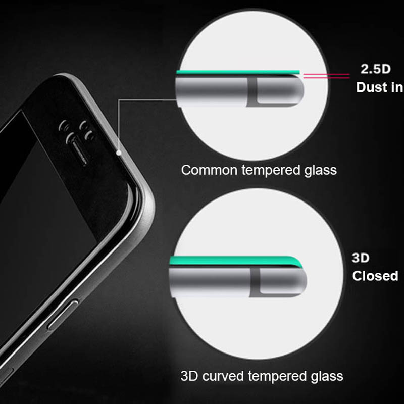 ไอโฟน6 พลัส ฟิล์มกระจกเต็มจอ 3D ขอบ Carbon fiber สีขาว