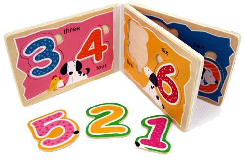 สมุดภาพจิ๊กซอว์ไม้สอนตัวเลข 1-10