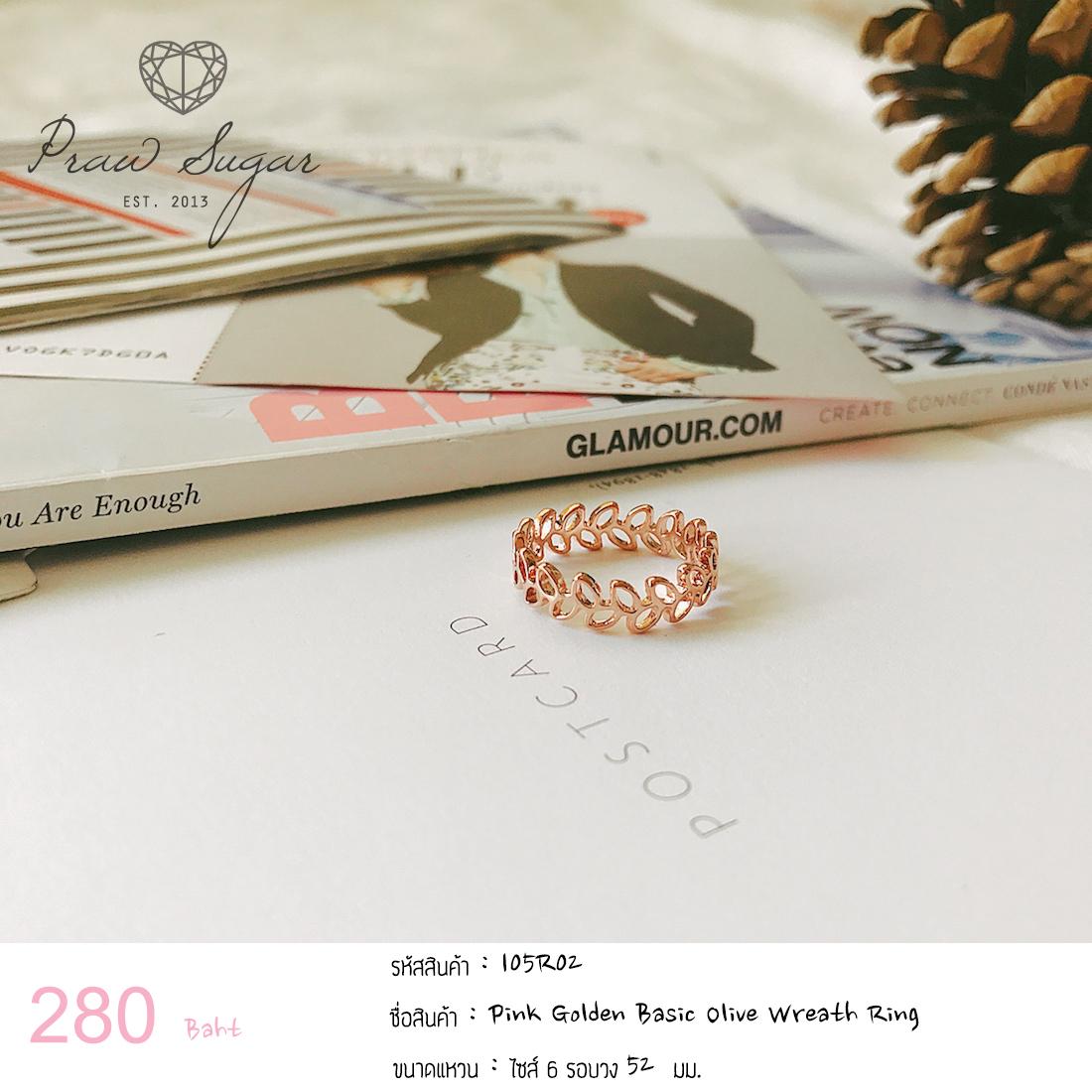 Pink Golden Basic Olive Wreath Ring