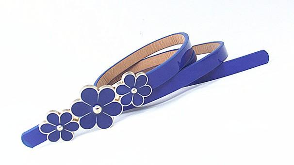 Leather belt - Navy blue