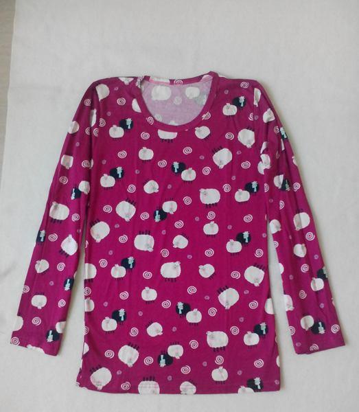 เสื้อยืดแขนยาวสีชมพูลายการ์ตูน