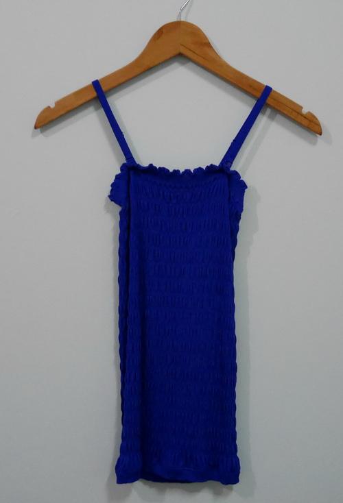 jp4071 เสื้อกล้าม ผ้ายืดคาร์ดิแกน ทอย่น ๆ สีน้ำเงิน แบรนด์ญี่ปุ่น GU สายบ่าปรับได้ รอบอก 30- 34 นิ้ว