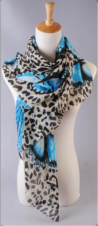 ผ้าพันคอผ้าชีฟอง ลายผีเสื้อฟ้า ( รหัส P273 )