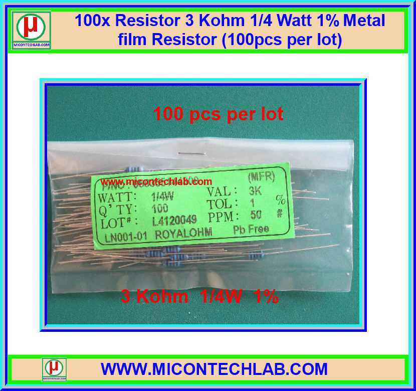 100x Resistor 3 Kohm 1/4 Watt 1% Metal film Resistor (100pcs per lot)