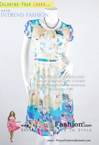 pd2726 - ชุดกระโปรงทำงาน(สาวตัวเล็ก) ผ้าซีฟองพิมพ์ลายโทนฟ้า ช่วงกระโปรงจับจีบ ซับในทั้งตัว เรียบๆแต่ดูน่ารักๆค่ะ