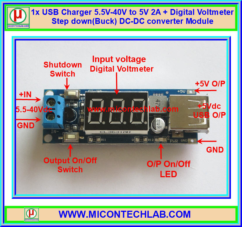 1x USB Charger 5.5V-40V to 5V 2A + Digital Voltmeter Step down(Buck) DC-DC converter Module
