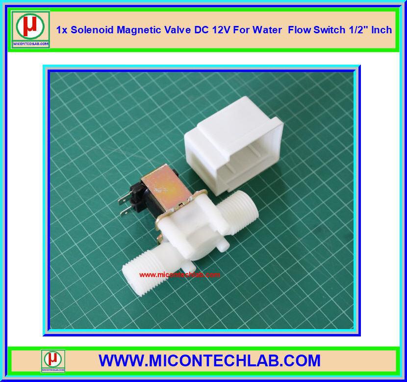 1x โซลินอยวาล์วแม่เหล็กเปิดปิดน้ำ DC 12V ขนาด 1/2 นิ้ว (Water Solenoid Valve DC 12V)