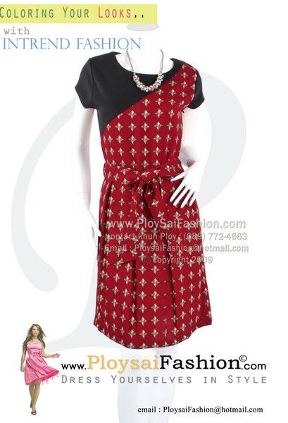 hd1822 - ชุดเดรส ผ้าเกรด AAAA สีแดงพิมพ์ลายตัดต่ดด้วยผ้าสีดำ ผ้าคาดเอวแยกชิ้น ซับในช่วงกระโปรง สวยเรียบร้อยดูดีค่ะ