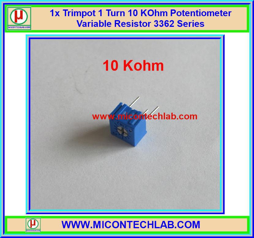 1x Trimpot 10 KOhm 1 Turn Potentiometer Variable Resistor 3362 Series