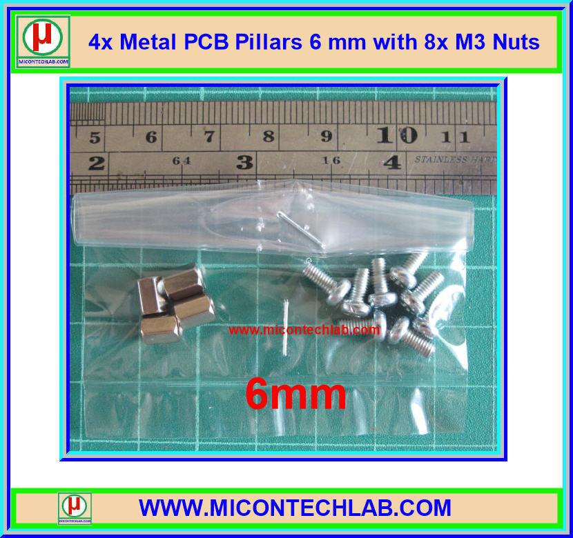 4x เสารองแบบเหลี่ยม 6 มม. 8x สกรู M3 (Pillars 6 mm)
