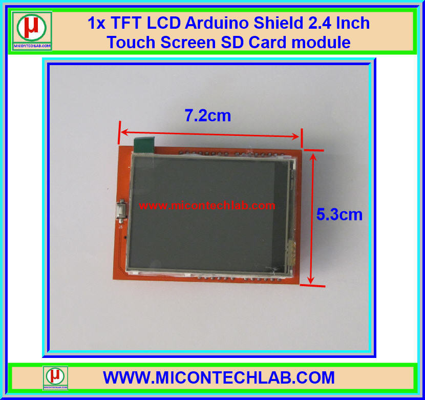 1x TFT Color LCD Arduino Shield 2.4 Inch Touch Screen SD Card module