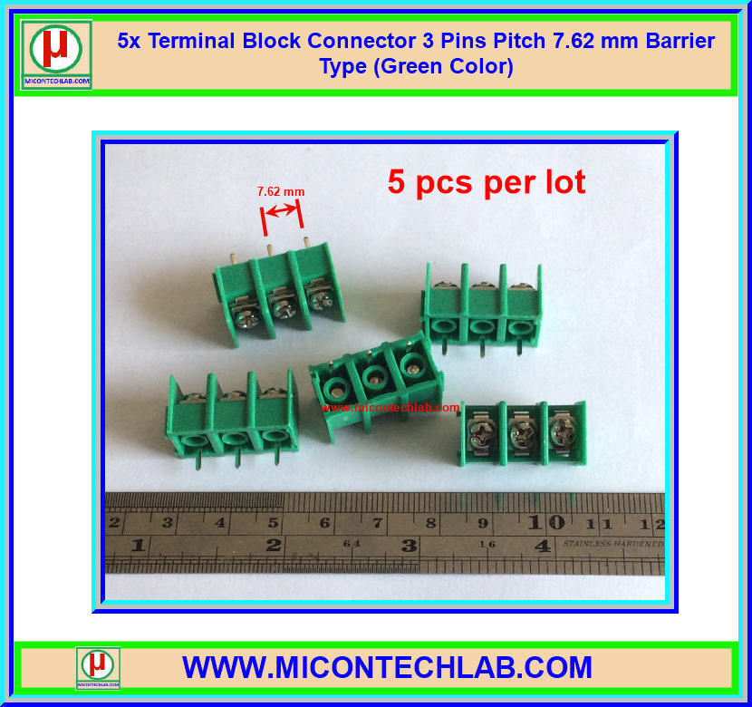 5x Terminal Block Connector 3 Pins Pitch 7.62 mm Barrier Type (Green Color)