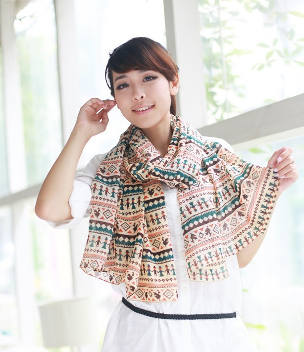 ผ้าพันคอผ้าชีฟอง ลายแคชเมียร์สีเขียว