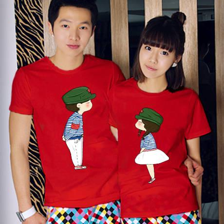 พร้อมส่ง-เสื้อคู่รักแฟชั่น ลายน่ารัก สีแดง ชาย XXXL หญิง M *ราคาขายเป็นคู่*