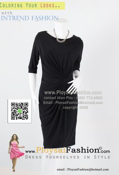 bw293 - ชุดดำผ้าเกาหลีสีดำ แขนสามส่วน แต่งขยุ้มด้านข้าง ทรงเข้ารูป สวยเรียบร้อยดูดีค่ะ