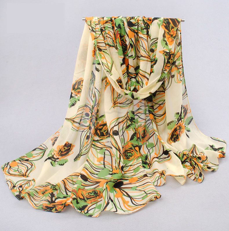 ผ้าพันคอชีฟอง ลายดอกกุหลาบโทนเขียว