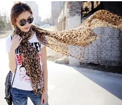 ผ้าพันคอผ้าชีฟอง เสือดาว