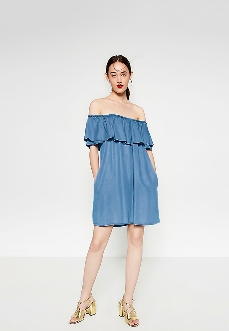 ชุดเดรส Off-Shoulder Short-Sleeve Denim